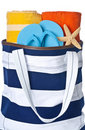 Beach Bag with Towels and Flip Flop Royalty Free Stock Photo