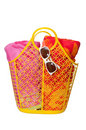 Beach Bag, Towels, and Sunglasses Royalty Free Stock Photo