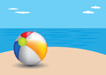 Beach ball on a beach vector illustration of Stock Photography
