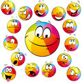 Beach Ball Cartoon Faces Stock Image