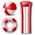 Beach ball and float set red white on white Royalty Free Stock Photos