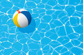 Beach ball floating in a swimming pool. Summer background. Royalty Free Stock Photo
