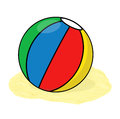 Beach ball illustration isolated on the sand Stock Photos