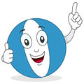 Beach ball thumbs up character a funny cartoon with Stock Photo
