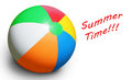 Beach ball on white fun summer concept Royalty Free Stock Photos