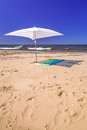 Beach of baltic sea in sobieszewo white parasol on the Stock Photography