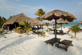 Beach bar in the mayan riviera and palapas quintana roo mexico Stock Image