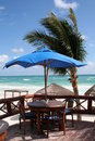 Beach Bar at Tulum Resort in Cancun Bay - Mexico Royalty Free Stock Photo