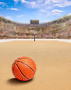Beach Basketball Arena With Ball on Sand and Copy Space Royalty Free Stock Photo