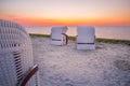 Beach baskets at the beach of Harlesiel Royalty Free Stock Photo