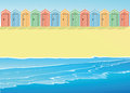 Beach with beach huts an illustration of a Royalty Free Stock Photo