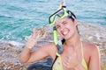 Beach beautiful smiling woman Стоковая Фотография RF