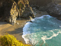 Beach on the big sur coastline aerial view of waves breaking a sandy of california u s a Stock Photography