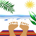 Beach blanket feet Stock Photo