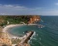Beach Bolata near cape Kaliakra, Black sea, Bulgaria - panorama from the hill above the beach Royalty Free Stock Photo