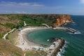 Beach Bolata near cape Kaliakra, Black sea, Bulgaria - photo from the hill above the beach Royalty Free Stock Photo