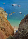 Beach at the bottom of sea cliffs Lagos Portugal. Royalty Free Stock Photo
