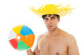 Beach boy with ball man at the playing isolated over white background Royalty Free Stock Photos
