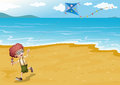 A beach with a boy playing illustration of Stock Images