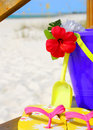 Beach bucket on boardwalk Royalty Free Stock Photo
