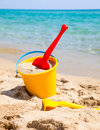 Beach bucket with spade Stock Photo