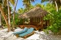 Beach bungalow maldives vacation background Royalty Free Stock Image