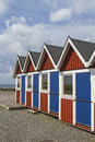 Beach cabins in molle a well known and popular seaside resort in sweden Royalty Free Stock Photos