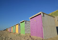 Beach cabins near the northsea in the netherlands europe Royalty Free Stock Photos