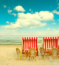 Beach cafe on the Baltic Sea. lanscape with cloudy blue sky Royalty Free Stock Photo