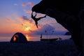 Beach Camping with rock climbing and kayaking Royalty Free Stock Photo