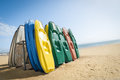 Beach canoes colorful plastic on a british Royalty Free Stock Image