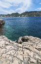Beach in the cassis calanques marseille picture showing famous de luminy natural reserve park and climbing famous place all over Royalty Free Stock Photography