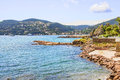 Beach and the castle in la naouple french riviera Royalty Free Stock Photos