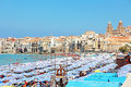 Beach  Of Cefalu, Sicily Royalty Free Stock Photo