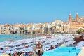 Beach Of Cefalu, Sicily Royalty Free Stock Photo