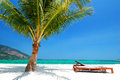 Beach chair nearby coconut tree on white sand, blue sky and turquoise sea Royalty Free Stock Photo