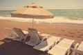 Beach chair on sand beach Royalty Free Stock Photo