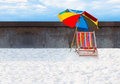 Beach chair single with sand or white Stock Photos