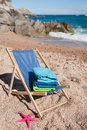 Beach chair with towels Royalty Free Stock Photography