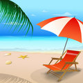 Beach chair with an umbrella Stock Photo