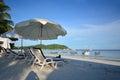 Beach chair and umbrella on idyllic tropical sand beach. Lipe, T
