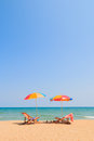 Beach chair and umbrella Royalty Free Stock Photo