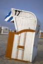 Beach chairs at the north sea coast of germany Royalty Free Stock Image