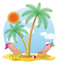 Beach chairs stand under a palm tree vector illustration Royalty Free Stock Photo