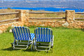 Beach chairs on summer vacation in europe crete greece Royalty Free Stock Photography