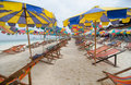 Beach chairs with umbrella and beautiful khai nok island phuket Stock Image