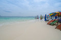 Beach chairs with umbrella and beautiful khai nok island phuket Stock Images