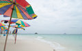 Beach chairs with umbrella and beautiful at khai nok island phuket Stock Image
