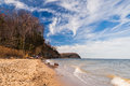 Beach and cliffs on the chesapeake bay at calvert state park maryland Royalty Free Stock Images