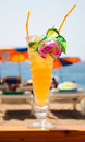 Beach cocktail big glass of on the of lloret de mar spain Royalty Free Stock Image